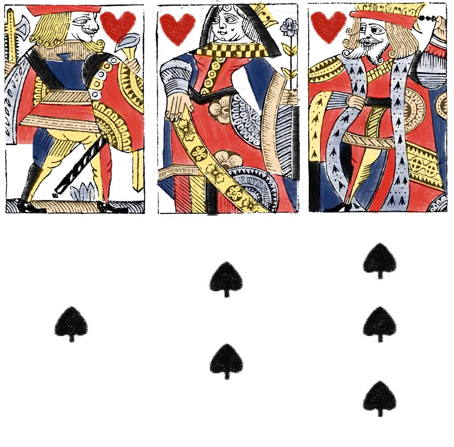 "hand-drawn and painted ""Hewson Facsimile Playing Cards"" made by David James Binns"