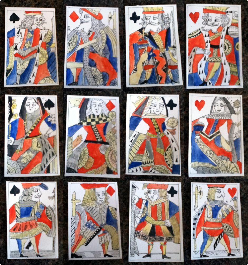 "hand-drawn and painted ""Tudor Playing Cards"" made by David James Binns"