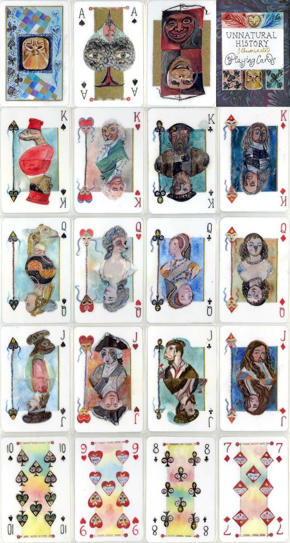 Unnatural History playing cards designed and hand-made by Shelley Fowles