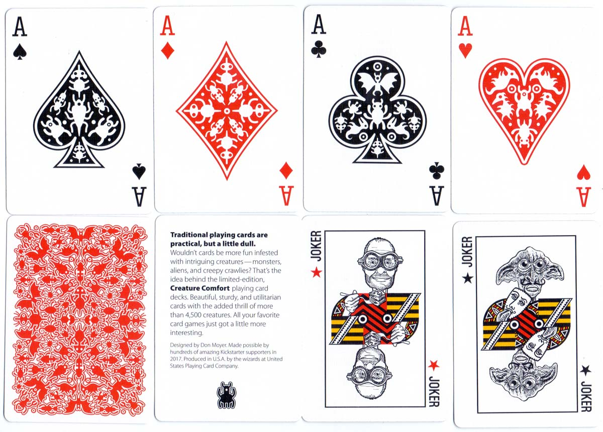 Creature Comfort playing cards designed by Don Moyer, 2017