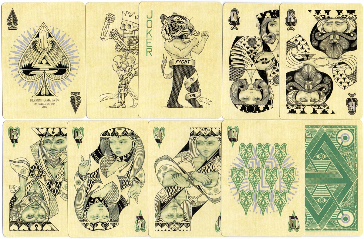 """Four Point"" mint version playing cards designed by Ben Vierck, 2014"