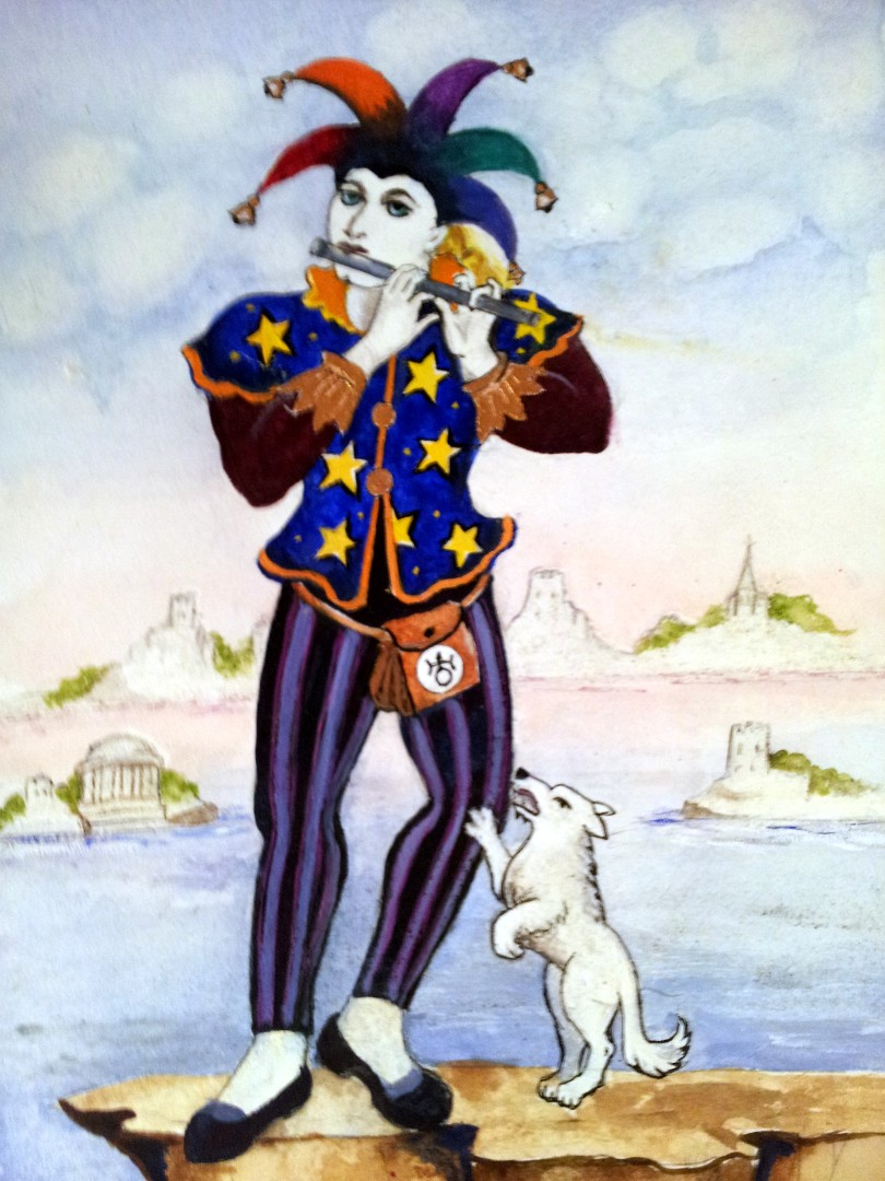the Fool from a set of tarot cards designed and painted by Alison McDonald