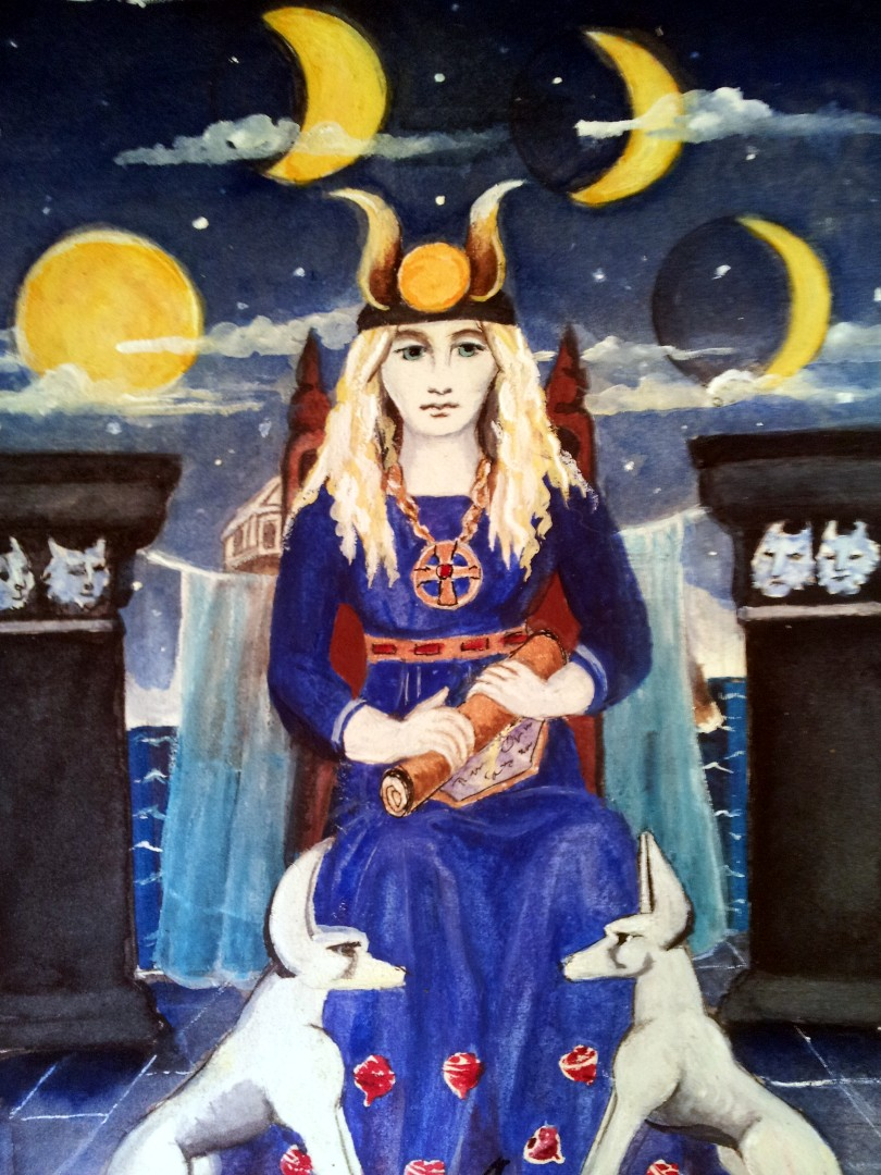 the High Priestess from a set of tarot cards designed and painted by Alison McDonald