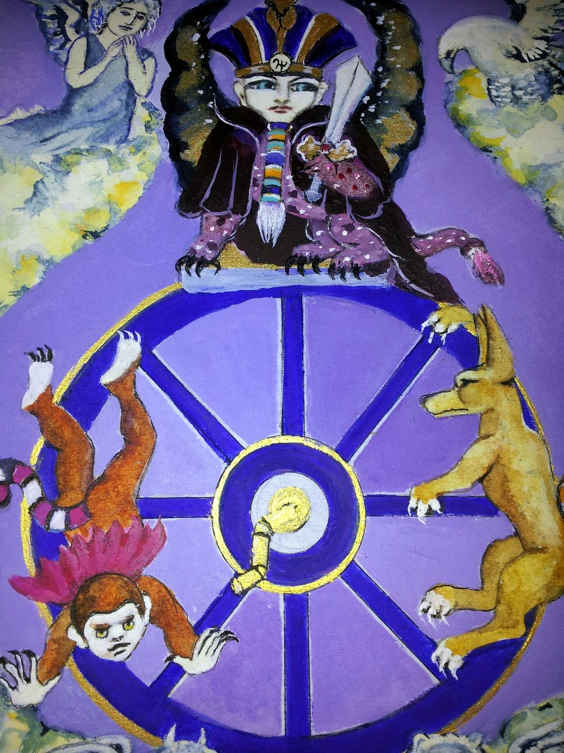 the Wheel of Fortune from a set of tarot cards designed and painted by Alison McDonald