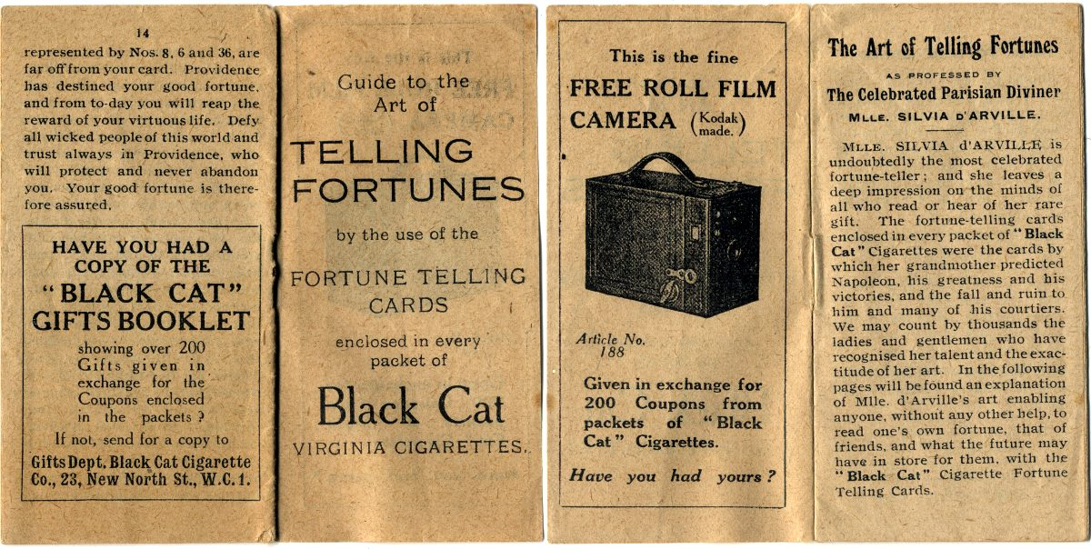 Carreras Fortune Telling Cards explanatory leaflet, 1926