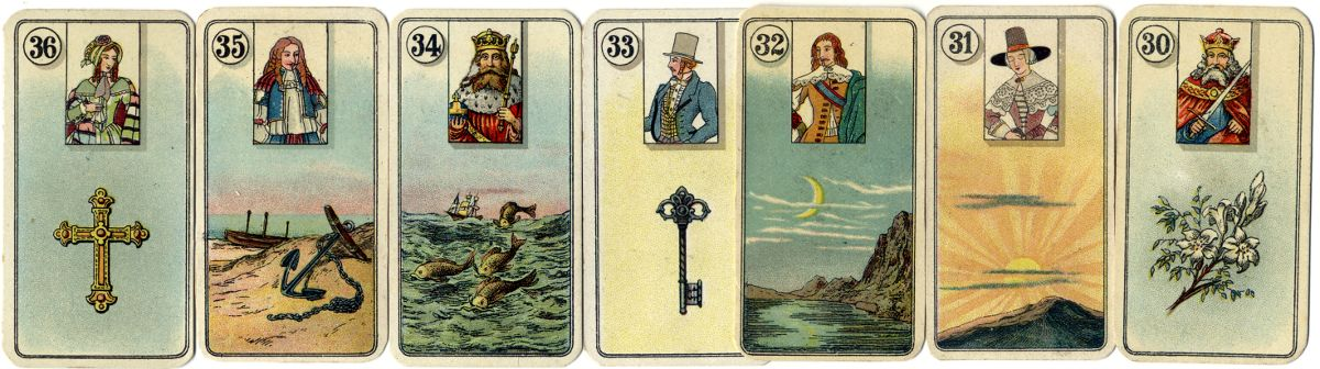 Carreras narrow-sized Fortune Telling Cards with figure inserts, 1926