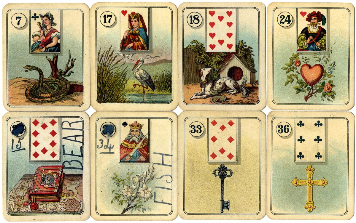 Carreras Fortune Telling Cards with playing card inserts, 1926