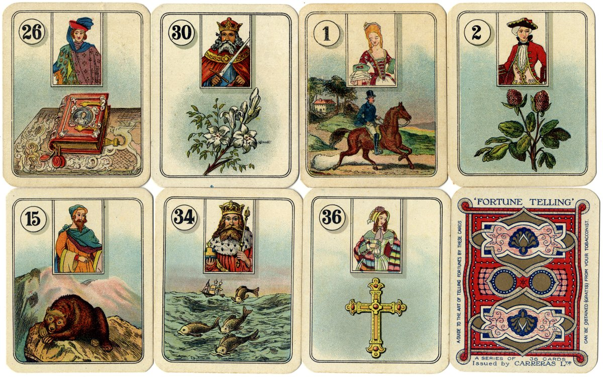 Carreras Fortune Telling Cards with figure inserts, 1926