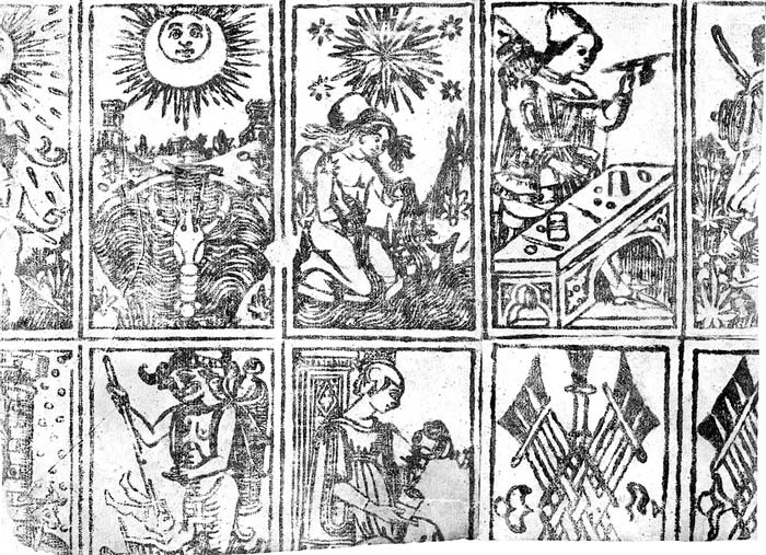 Cary Collection uncut sheet of tarot cards c.1500
