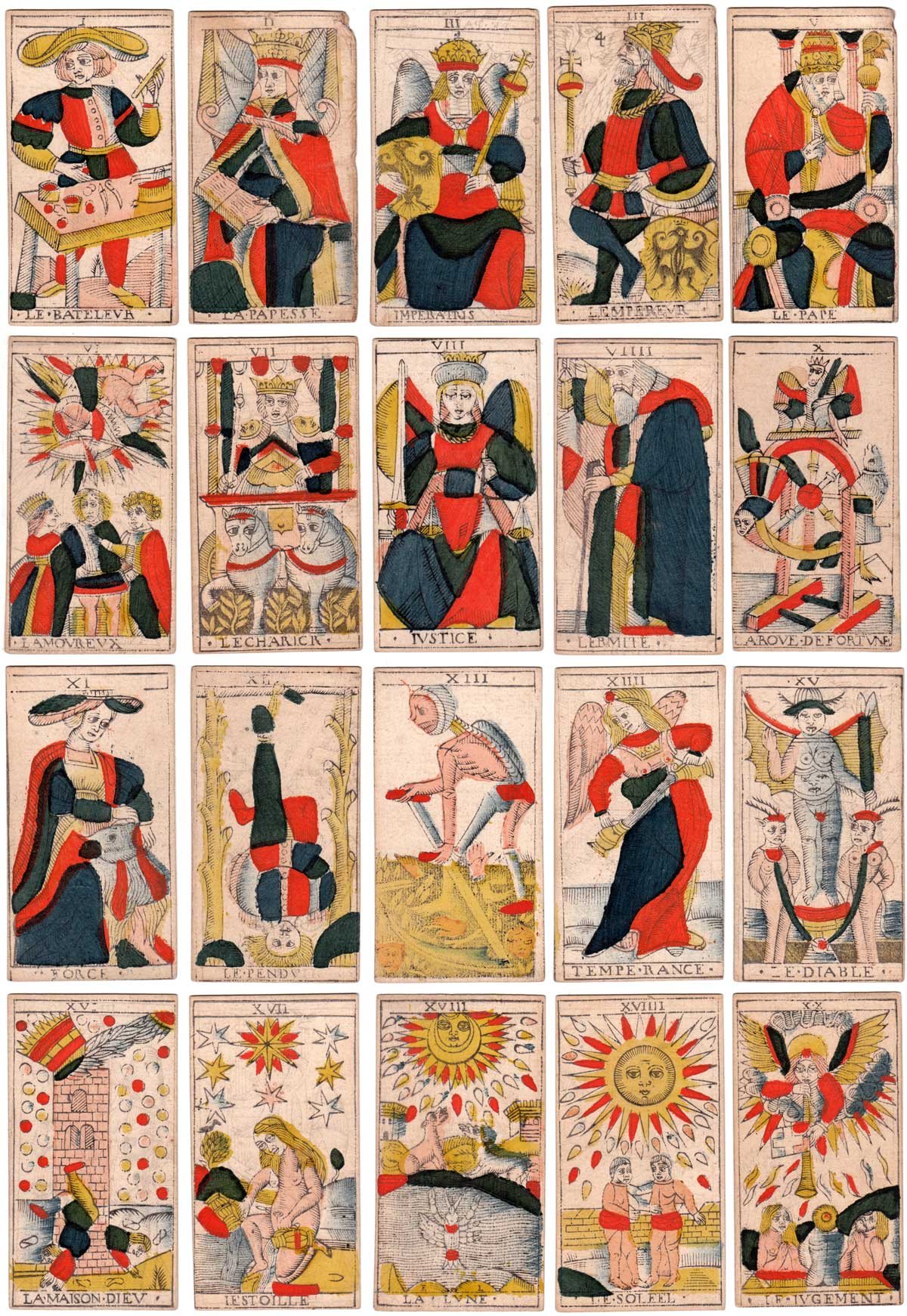 Marseille Tarot Trump cards by Charles Cheminade of Grenoble, France, early 18th century
