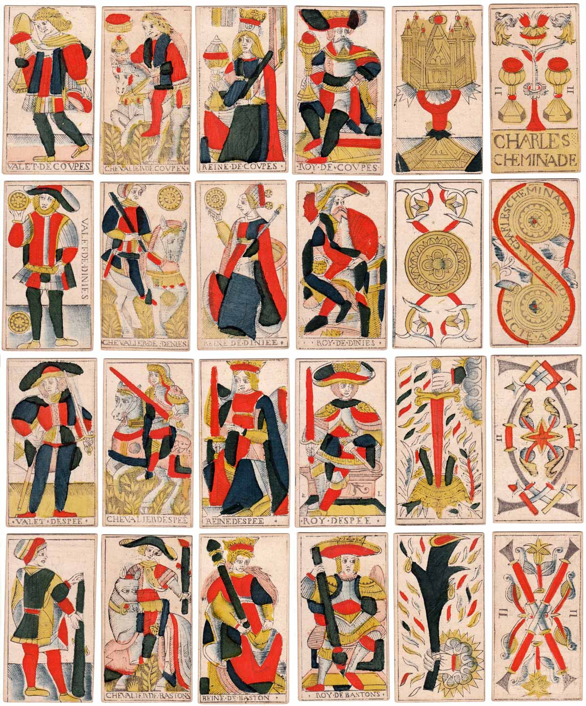 Marseille Tarot court cards by Charles Cheminade of Grenoble, France, early 18th century