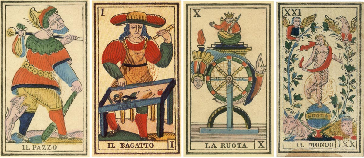 early prototype Piedmontese Tarot cards by Giovan Battista Guala of Ghemme, with Italian inscriptions