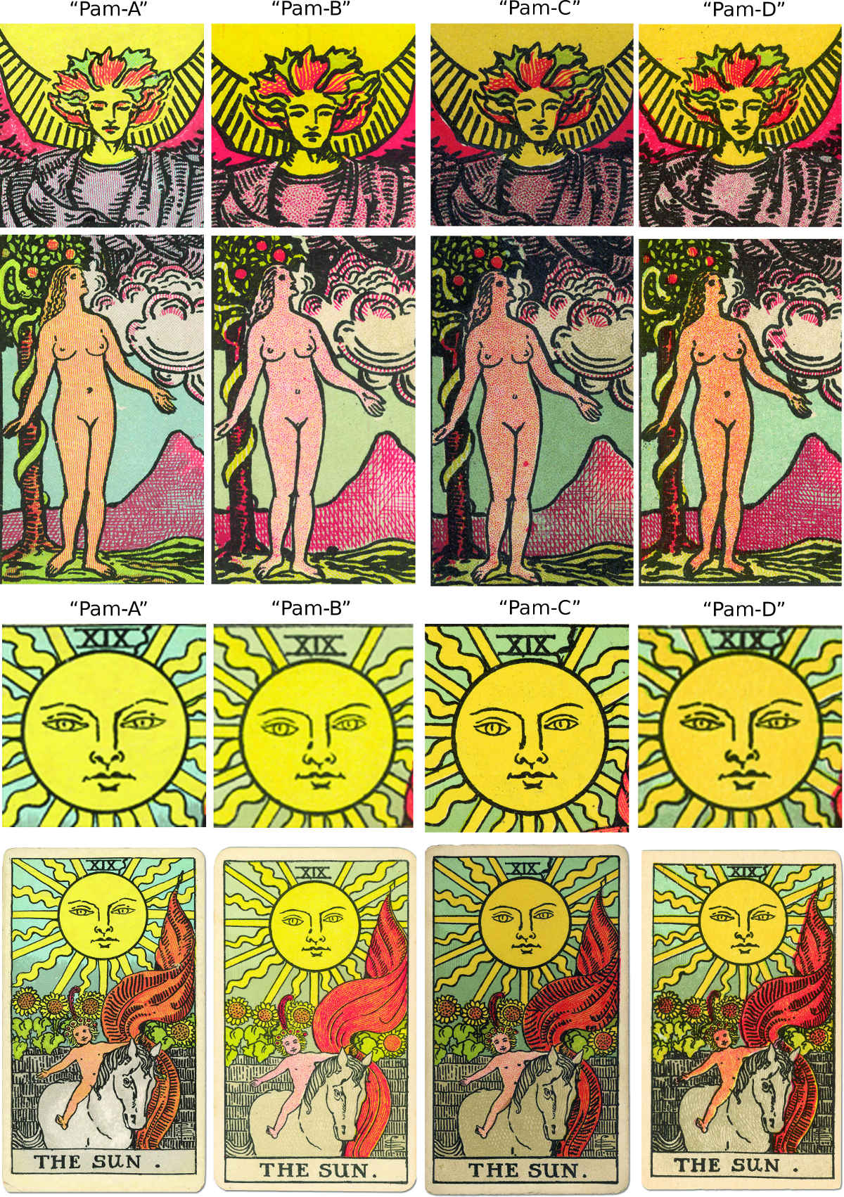 Rider Waite Tarot (early editions) details compared