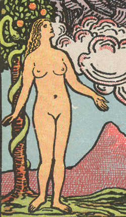 Detail from The Lover card from 'Pam-A' edition of Rider-Waite tarot, 1910-20