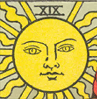 Detail from The Sun card from 'Pam-B' edition of Rider-Waite tarot, 1931-40