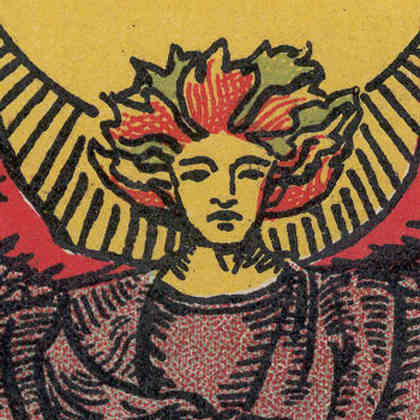 Detail from The Lover card from 'Pam-C' edition of Rider-Waite tarot, 1920-31
