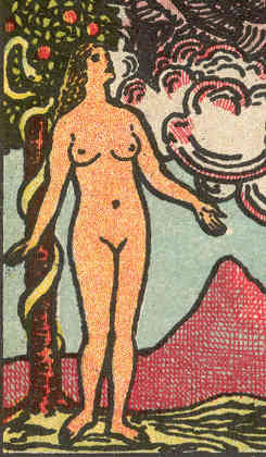 Detail from The Lover card from 'Pam-D' edition of Rider-Waite tarot, 1920-31