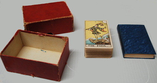 1st edition of the Rider-Waite tarot designed by Pamela Colman Smith and published by William Rider & Son Limited in December 1909