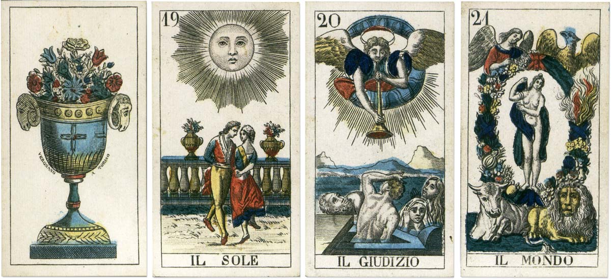 Tarot cards produced by Vergnano based on model by Carlo Dellarocca, c.1850