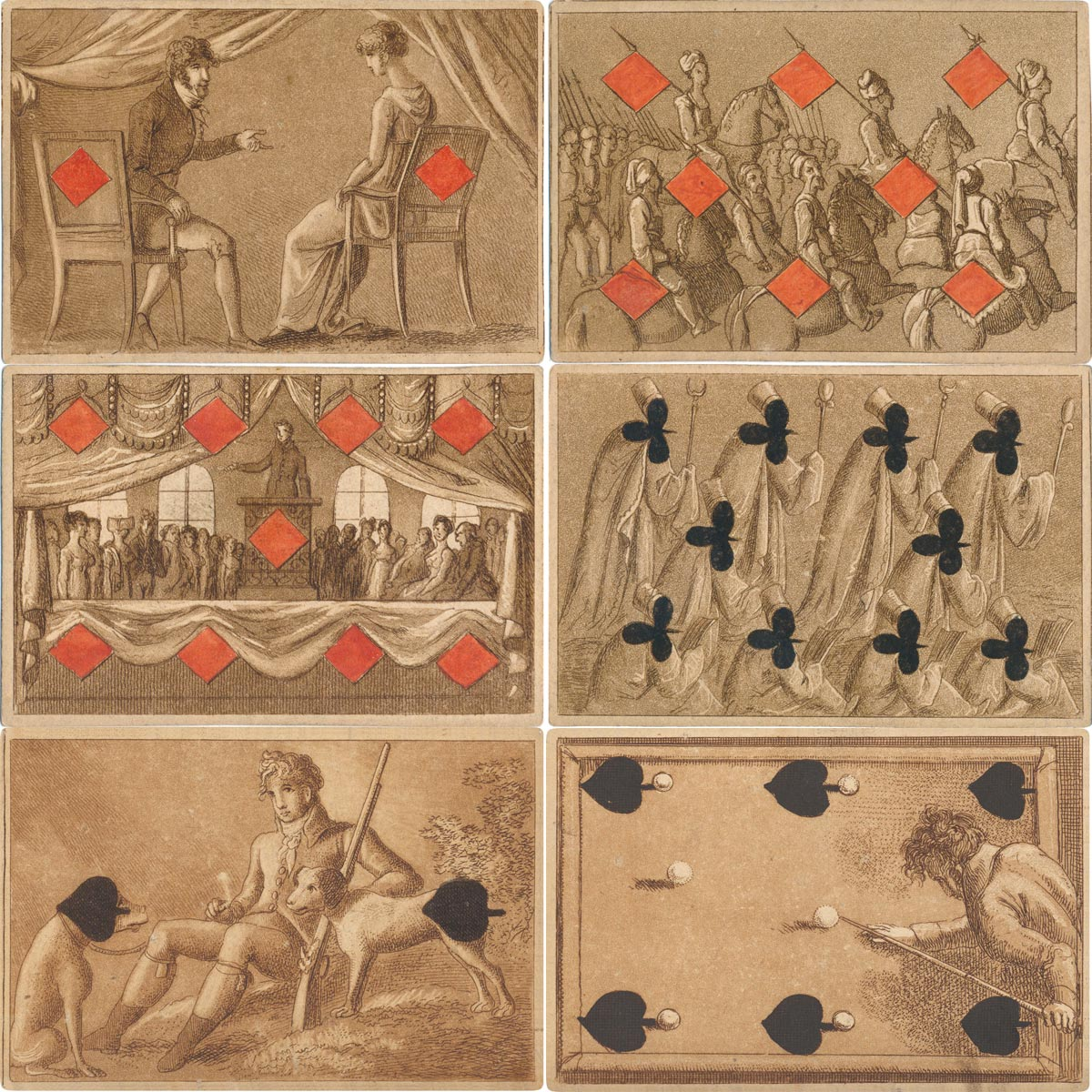 Transformation cards designed and etched by Vincenz Raimund Grüner, Vienna, 1809