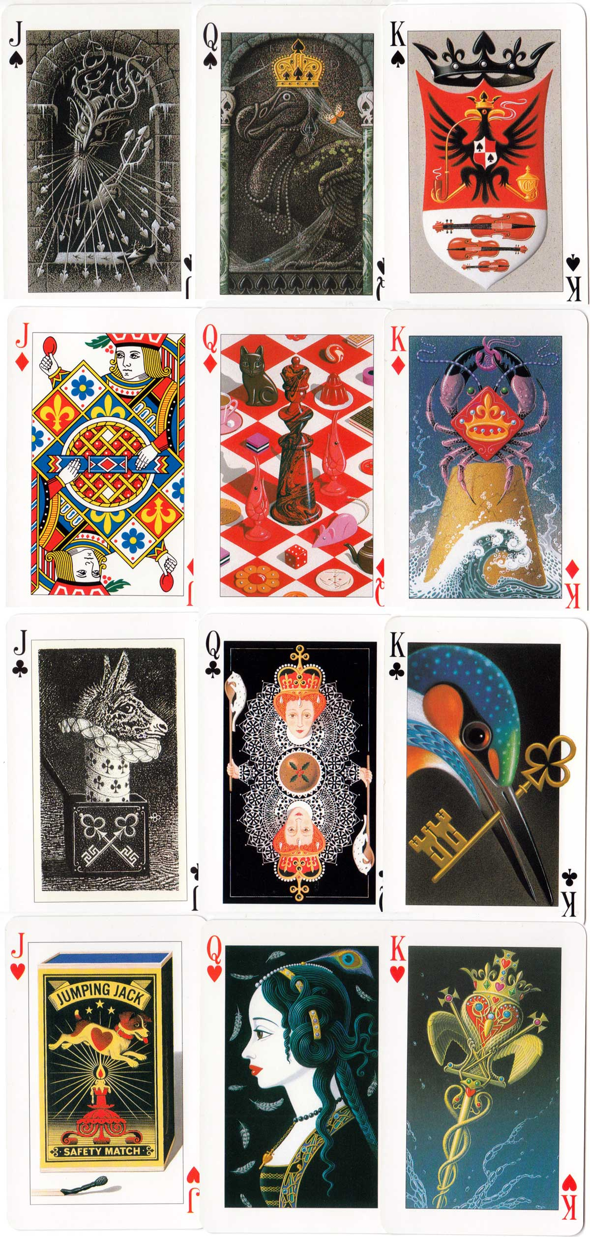 """Key to the Kingdom"" - an enchanted deck -  illuminated playing cards designed by Tony Meeuwissen, 1992. © Pavilion Books Company Limited"