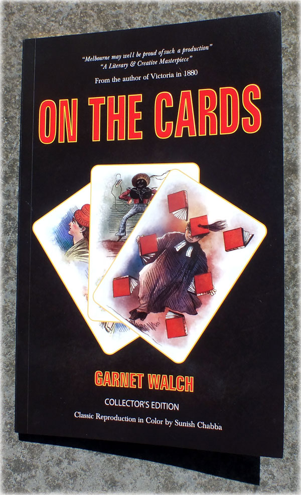 "re-print of ""On The Cards"" or ""A Motley Pack"" presented in colour by Guru Playing Card Company, Australia, 2019"
