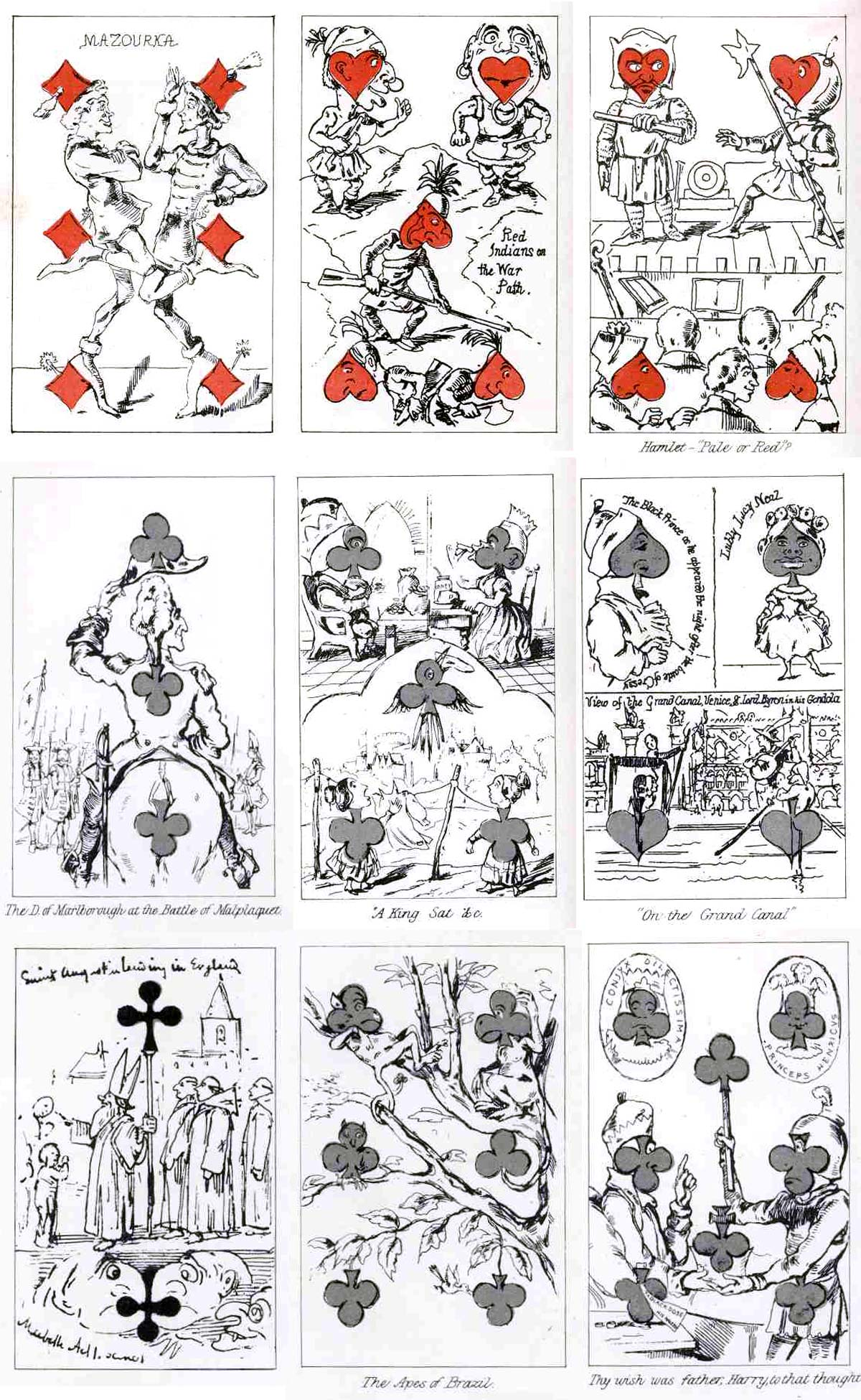 Transformation playing cards by William Makepeace Thackeray, 1876