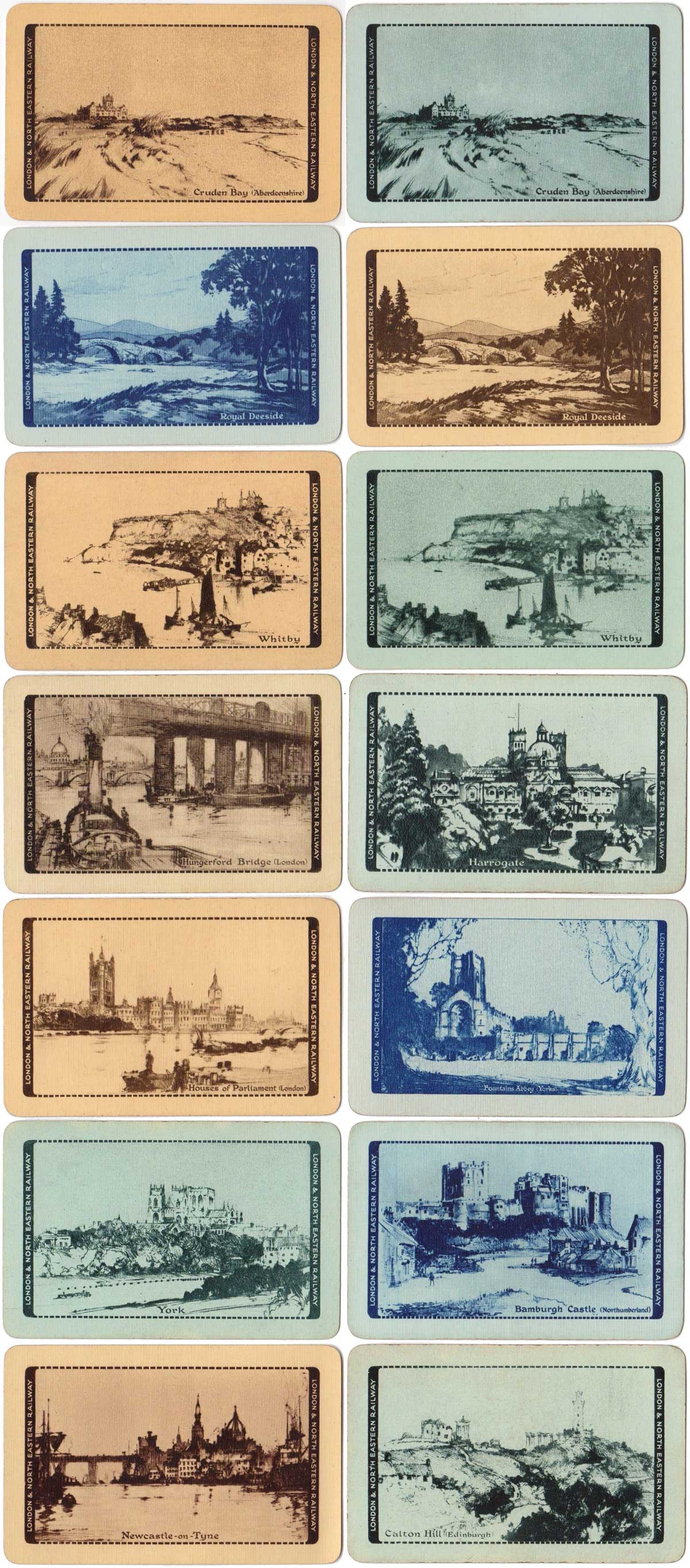 'Beautiful Britain' backs sponsored by the London and North Eastern Railway printed in monochrome, 1927-29