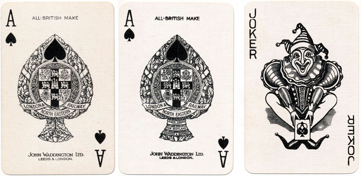 two different versions of special ace of spades produced by John Waddington Ltd for the L.N.E.R.