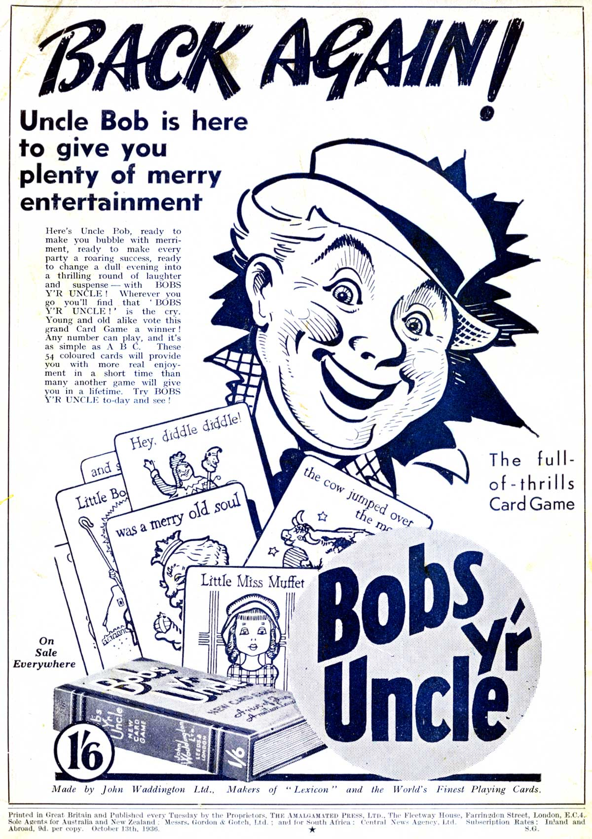 """Bobs y'r Uncle"" children's card game designed by Frank H. Simpson for John Waddington Ltd. in 1935"