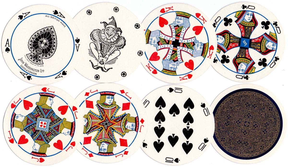 Cir-Q-Lar Playing Cards manufactured by John Waddington Ltd c.1929