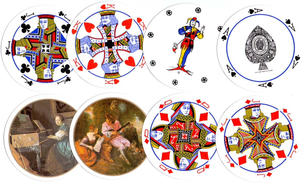 Double boxed set of Waddington's Circular playing cards with details from paintings by Vermeer and Watteau on the reverse, 1980s