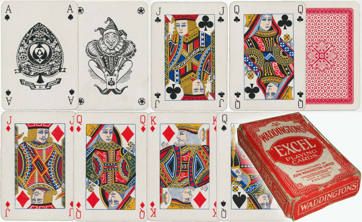 Waddington's early Ace of Spades and joker in an Excel pack with new courts, c.1925-35