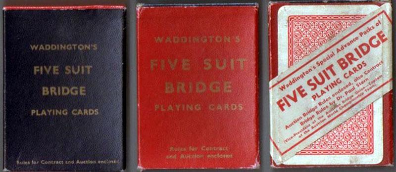 boxes from different editions of Waddington's Five Suit Bridge, c.1938