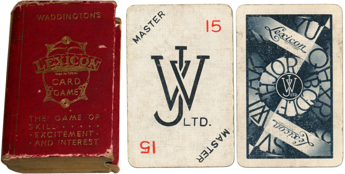 Lexicon card game with early design of 'Master' card, c.1933