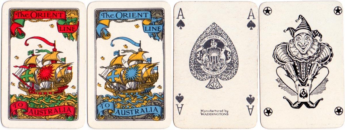 Orient Line to Australia twin patience set, c.1925