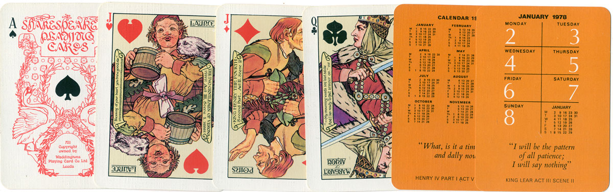 Shakespearean playing cards, 1978