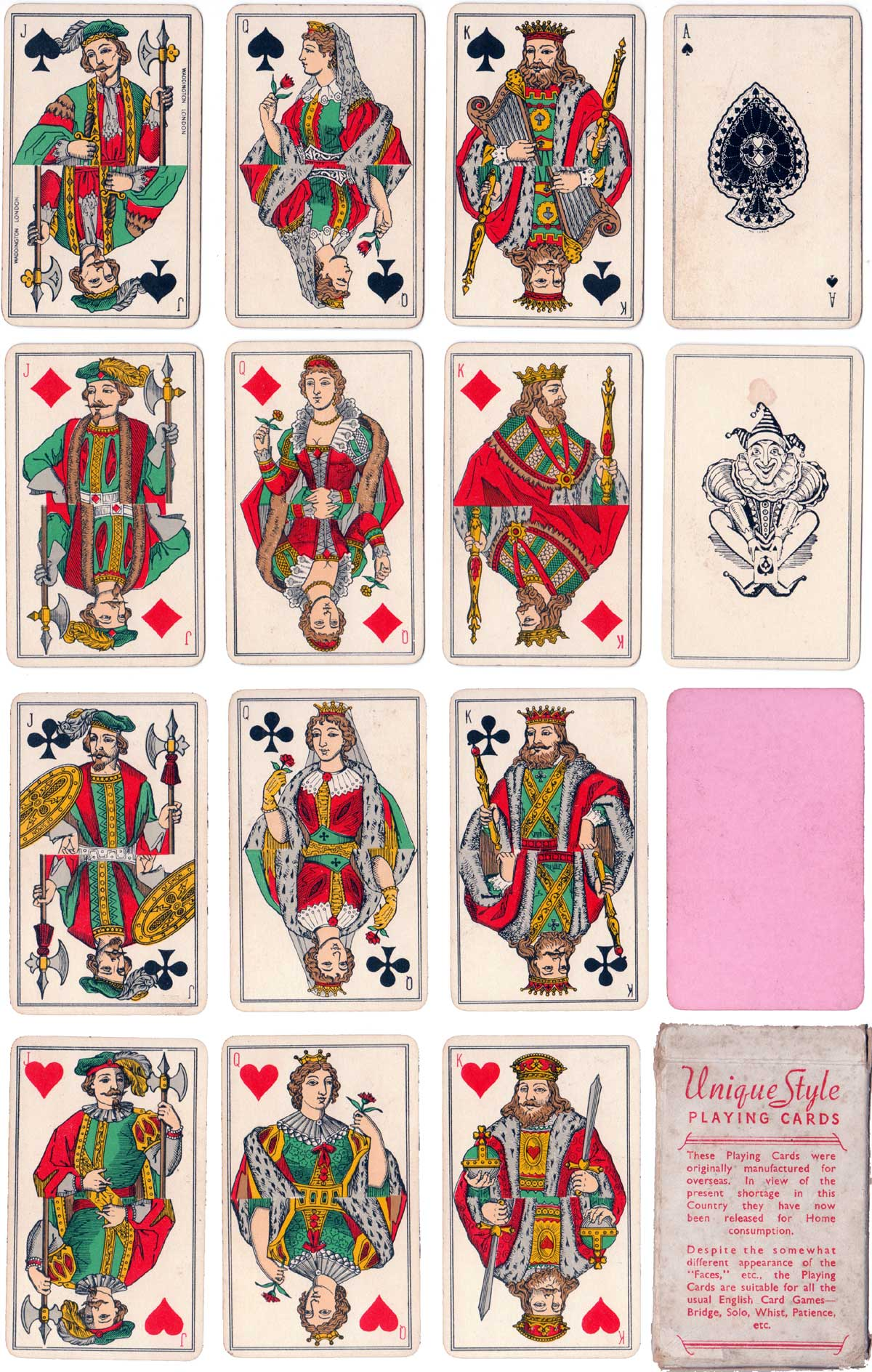 """""""Unique Style"""" Playing Cards published during war-time restrictions"""