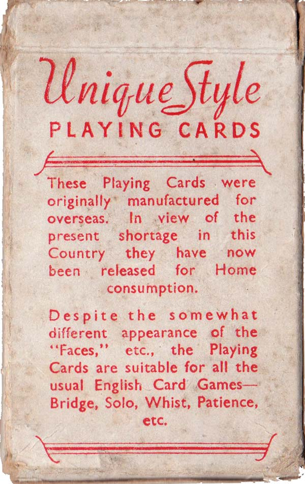 """Unique Style"" Playing Cards published during war-time restrictions"