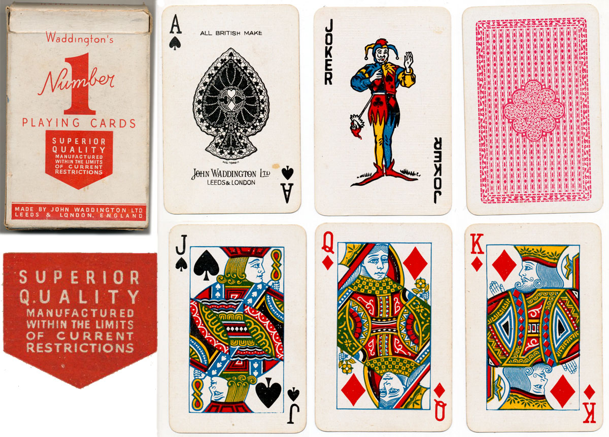 Number 1 playing cards manufactured during war-time restrictions