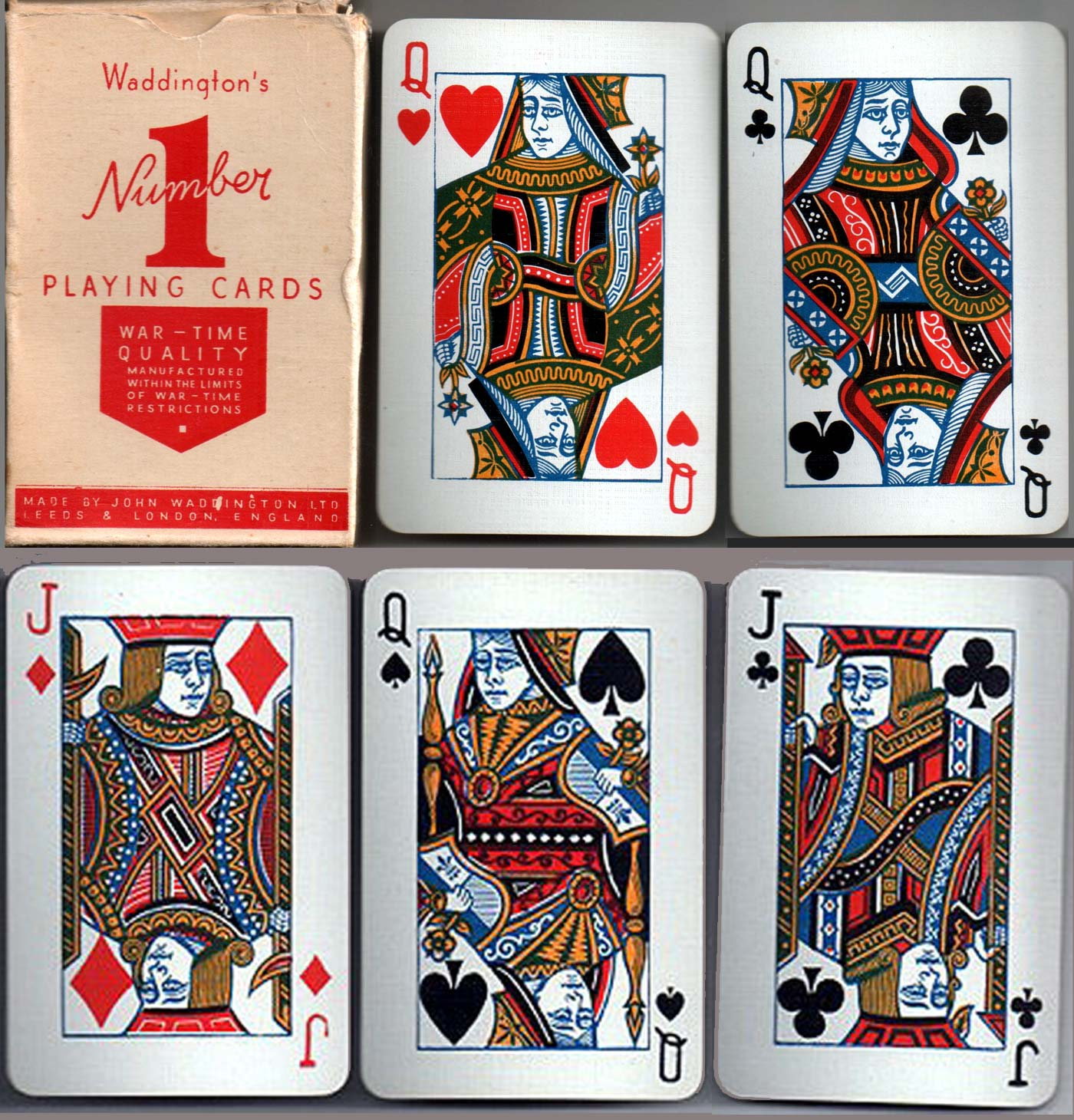 Number 1 playing cards manufactured during war-time rationing