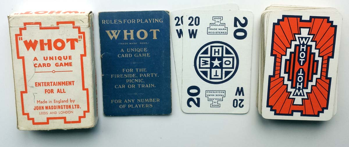 Whot card game manufactured by John Waddington Ltd with rules booklet published by W. H. Storey & Co. Ltd., 24 Dingwall Road, Croydon, c.1935