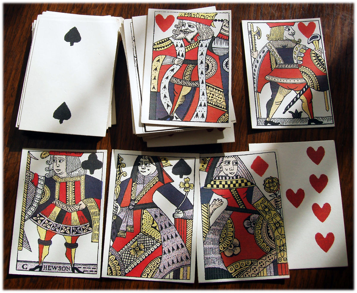 Replica 17th century playing cards Hand-made by Simon Wintle