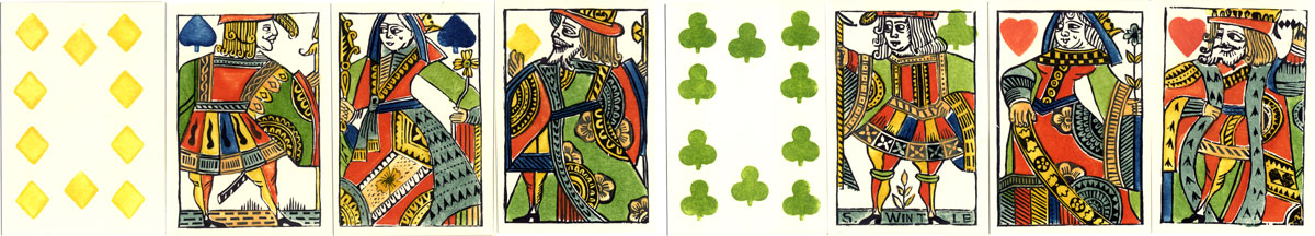 Woodblock and Stencil Playing Cards by Simon Wintle with alternative colour scheme, 1987