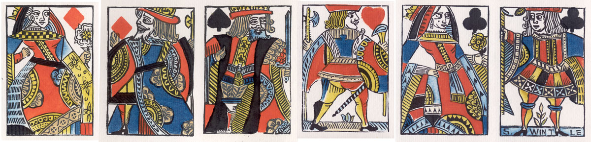 Woodblock and Stencil Playing Cards by Simon Wintle, 1987